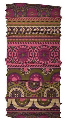 "Karma Ultra Wide Stretch Yoga Headband | Hair Wrap | Face Covering in Berry Medallion Dark Pink and Olive Green 10"" W x 19.5"" L"
