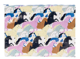 Wild Horses Colorful Recycled Material Cute/Cool/Unique Large/Jumbo Zipper Pouch/Bag/Clutch/Cosmetic Bag