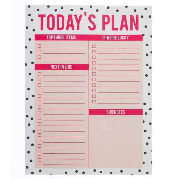Today's Plan Large Planner Notepad in Pink and Black Dot