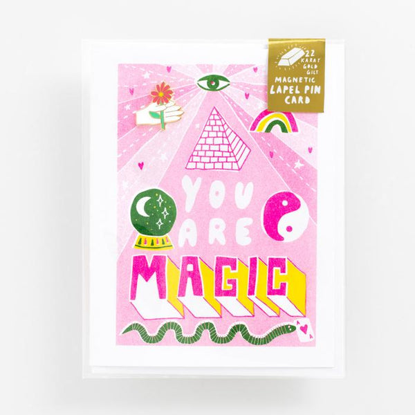 You Are Magic Greeting Card and Magnetic Lapel Pin Set