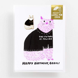 The Future is Feline Greeting Card and Magnetic Lapel Pin Set