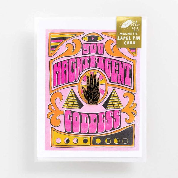 Magnificent Goddess Greeting Card and Magnetic Lapel Pin Set