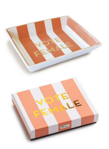 Vote Female Tray in Coral Stripe and Gold