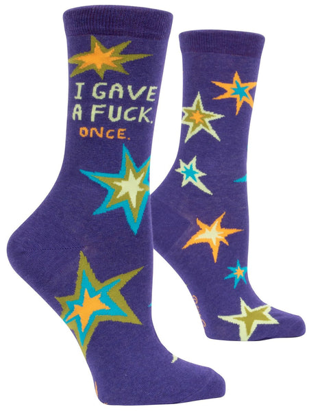 Last Call! I Gave A Fuck Once Women's Power Crew Socks Hipster/Nerdy/Geeky/Trendy, Funny Novelty Socks with Cool Design, Bold/Crazy/Unique Specialty Dress Socks