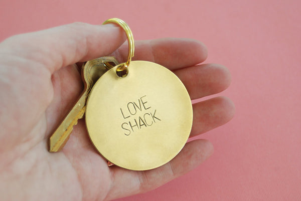 Love Shack Stamped Brass Keychain