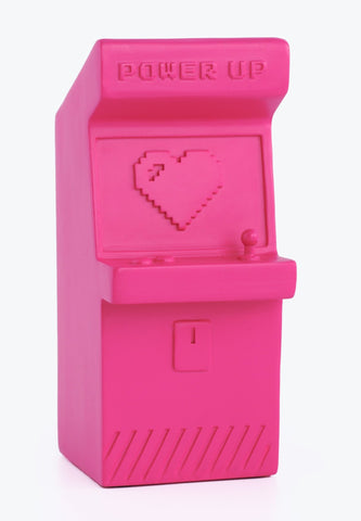Power Up Pen Pot Retro Arcade Machine in Magenta Pink