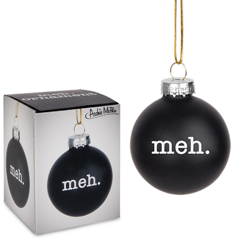 Meh Holiday Glass Ornament in Black