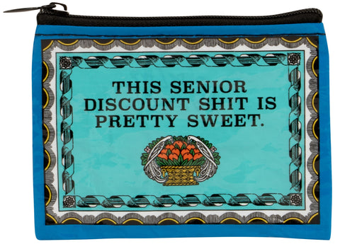 Senior Discount Shit Is Pretty Sweet Recycled Material Cool Small/Mini Zip Coin/Change Purse/Bag/Pouch/Wallet