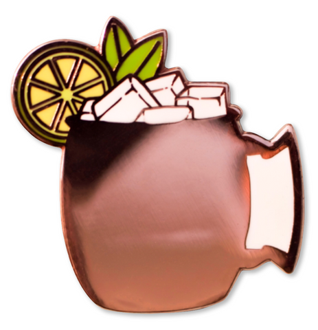 Moscow Mule Enamel Pin in Copper Mug Detailing
