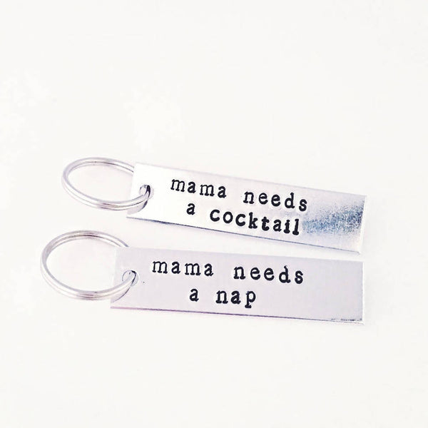 Mama Needs A Cocktail Stamped Bar Keyring Silver/Aluminum