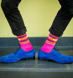Hugs Not Drugs Ribbed Gym Socks in Hot Pink and Yellow
