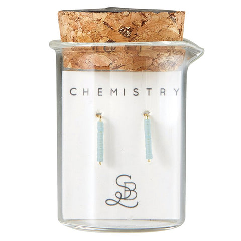Gold Plated Mineral Chemistry Earrings | In a Glass Vial for Gift Giving