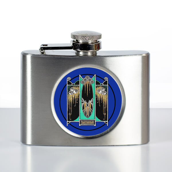 Art Deco Flask in Blue Moderne