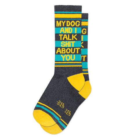 My Dog and I Talk Shit About You Ribbed Gym Socks in Blue, Yellow and Grey