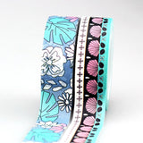 Aloha Tropical Hawaiian Washi Tape in Blue, Pink and White Shells and Flora