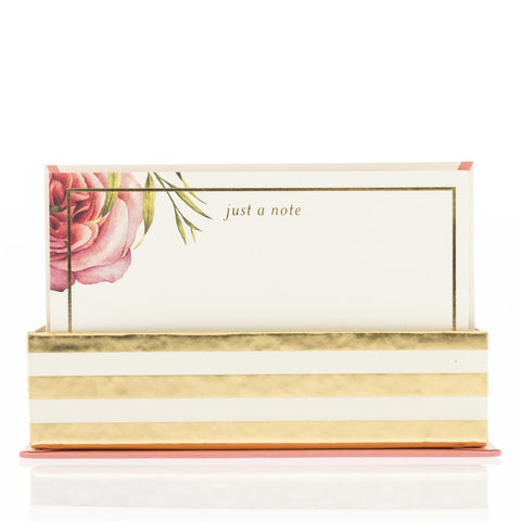 Coral Floral Flat Notes in Luxe Gold Stripes