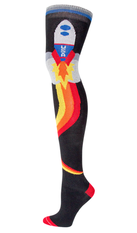 Retro Rocket Over The Knee Socks in Yellow, Orange, Red and Black