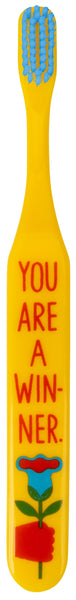 You Are A Winner Toothbrush | Soft BPA-Free Funny Toothbrush Packaged for Gifting | Art on Both Sides