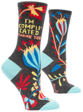 I'm Complicated. Thank you. Women's Crew Socks, Hipster/Nerdy/Geeky/Trendy, Colorful Floral Funny Novelty Socks with Cool Design, Bold/Crazy/Unique Dress Socks