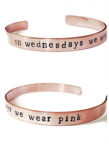 On Wednesdays We Wear Pink Adjustable Cuff Bracelet in Copper
