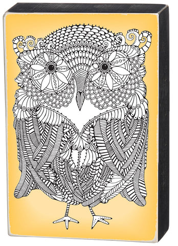 Owl Color It Yourself Block Sign, Coloring Project For Adults, Decorative Wall Art for Living Room/Bedroom/Dining Room