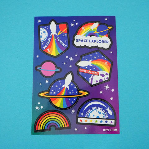 Rainbow Rocket Intergalactic Sticker Sheet