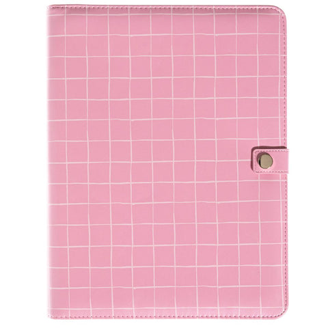 Pink Grid Task Master Legal Pad Pocket Portfolio