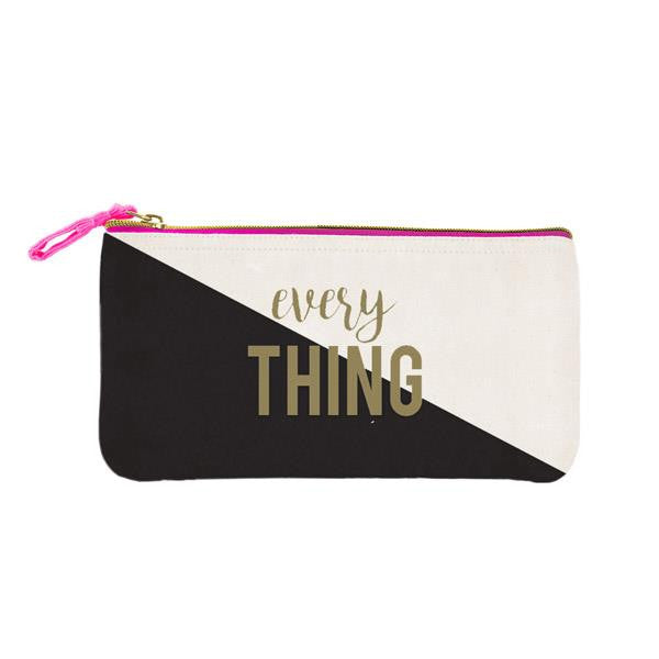 Everything Pencil Case in Colorblock with Gold Text