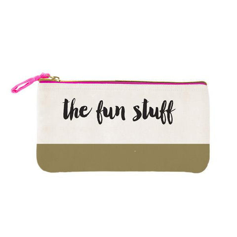 The Fun Stuff Pink Gold Canvas Cute/Cool/Best Zipper Pencil Case/Pouch/Holder/Pen Bag/Holder