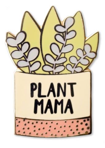 Plant Mama in Pot Enamel Pin with Gold Detailing