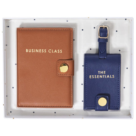 Business Class Passport Case and Luggage Tag Set