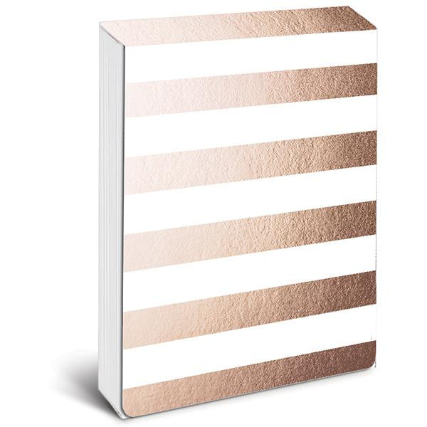 Rose Gold Metallic Stripe Pocket Note