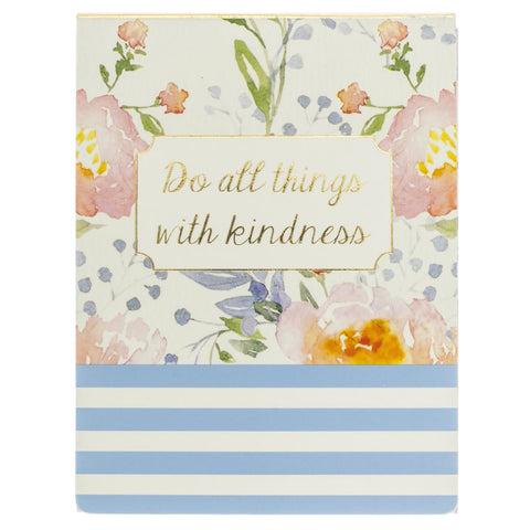 Do All Things With Kindness Floral Stripes Pocket Notepad with Magnetic Closure