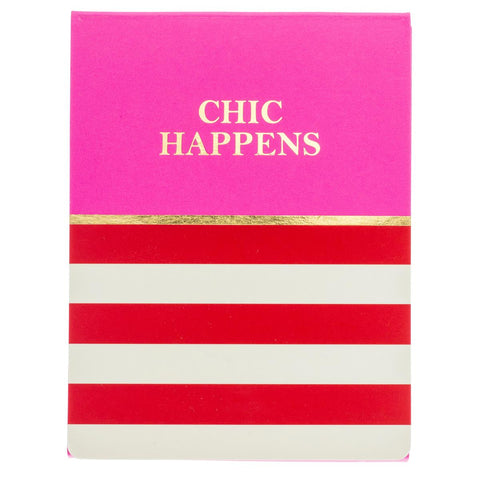 Chic Happens Pocket Notepad in Pink, Red and White Stripe with Magnetic Closure