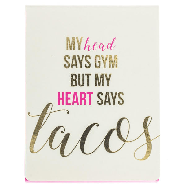 My Heart Says Tacos Pocket Notepad in Pink and Gold