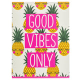 Good Vibes Only Pineapple Faces Pocket Notepad with Magnetic Closure