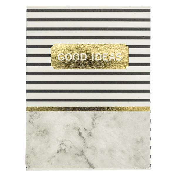 Good Ideas Grey Granite Pocket Notepad in Stripe and Marble with Magnetic Closure