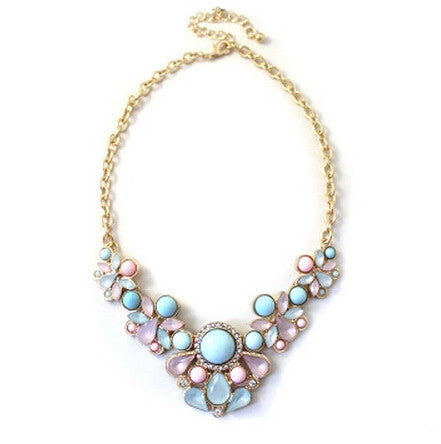 Pastel Perfection Statement Necklace in Blush Pink, Blue, and Lilac