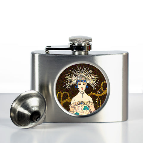 Art Deco Flask in Woman With Peacock