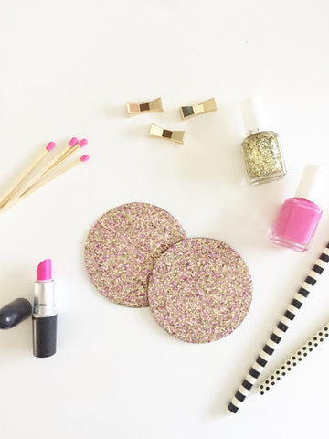Pink & Gold Glitter Coasters | Handmade | Glitter on Cork | Pack of 6