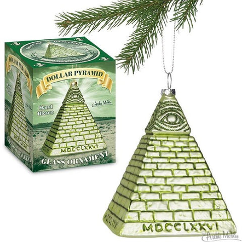"Dollar Pyramid Hand-Blown Glass Ornament | Funny Holiday Ornament | 5"" Tall"