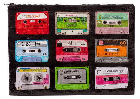 Cassette Mixtape Jumpo Zipper Pouch in Recycled Material