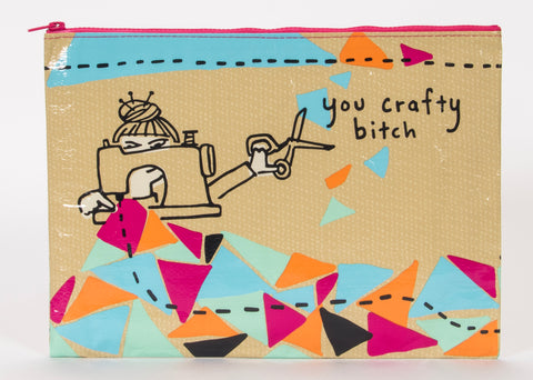 You Crafty Bitch Jumbo Pouch in DIY Tan and Patchwork