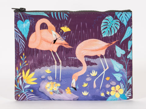 Flamingo Zipper Pouch in Blue and Violet