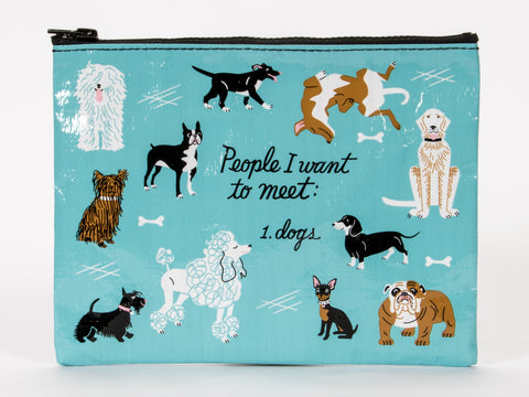 People I Want to Meet: Dogs Zipper Pouch in Sky Blue