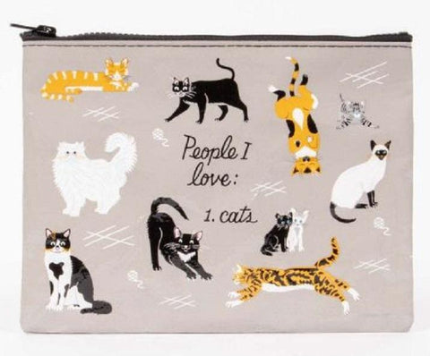 People I Love Cats Recycled Material Cute/Cool/Unique Zipper Pouch/Bag/Clutch/Cosmetic Bag
