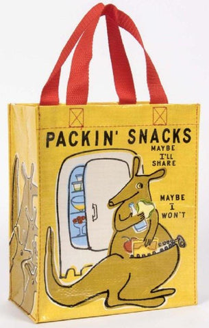 Packin' Snacks Handy Tote in Orange Recycled Material With Kangaroo Design