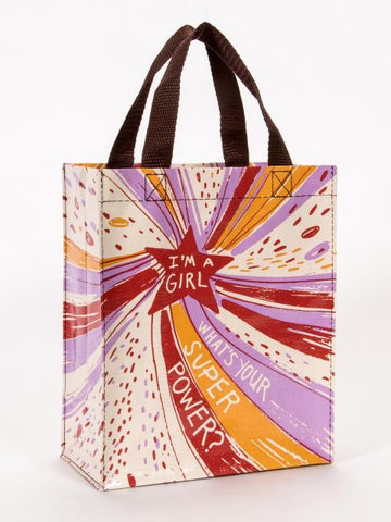 I'm A Girl. What's Your Superpower? Handy Tote in Colorful Starburst