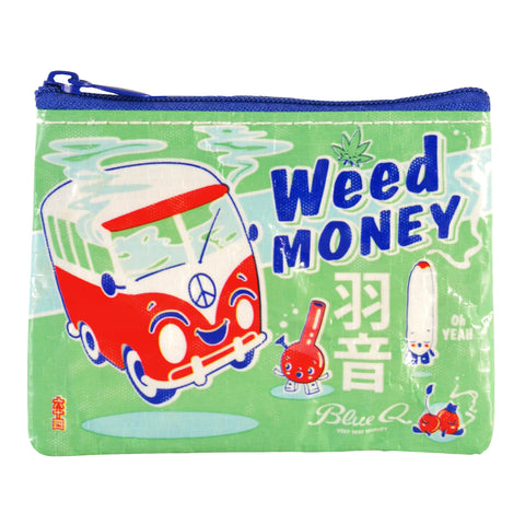 Weed Money Recycled Material Cool Small/Mini Zip Coin/Change Purse/Bag/Pouch/Wallet