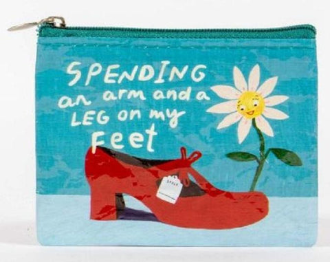 An Arm And A Leg On My Feet Blue Recycled Material Cool Small/Mini Zip Coin/Change Purse/Bag/Pouch/Wallet